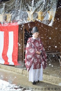 shinto priest in snow